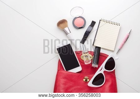 Red Woman Bag With Cosmetic, Sunglasses And Accessories