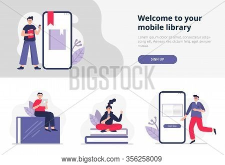 People With Giant Books And Phones Study Online, Read And Listen E-books On Their Devices. Vector Il
