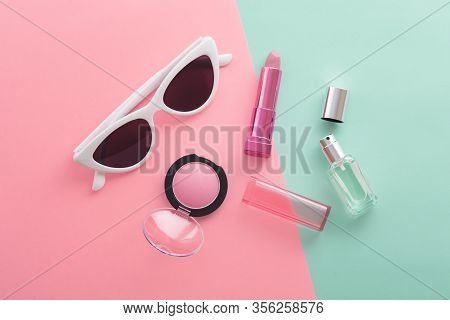 Cosmetic Beauty Products And Sunglasses