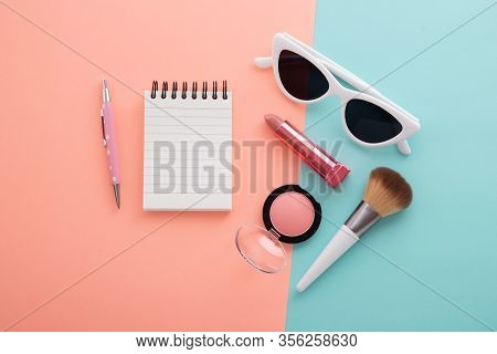 Cosmetic Beauty Products With Notepad And Pen