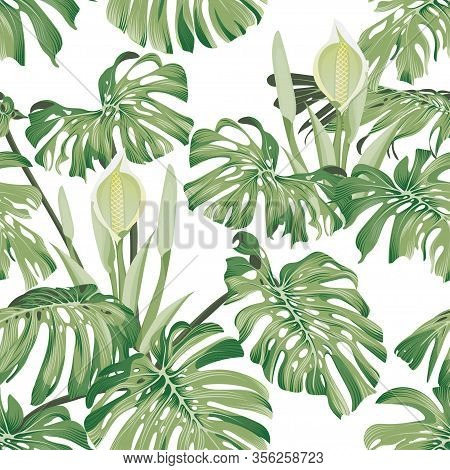Monstera Leaves And Flowers. Seamless Tropical Pattern With Exotic Leaves And Flowers. Bright And Su