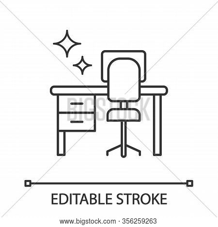 Cleaning Table Desk Linear Icon. Thin Line Illustration. Keeping Workplace Clean. Tidy Home Or Offic