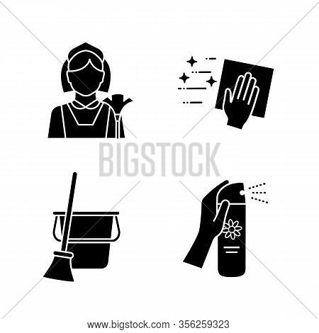 Cleaning Service Glyph Icons Set. Maid, Cleaning Napkin, Broom And Bucket, Air Freshener. Silhouette