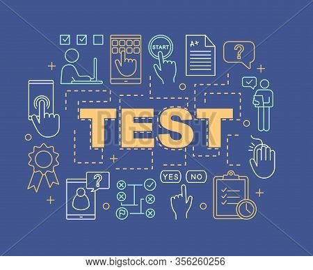 Online Test Word Concepts Banner. Exam, Examination. Presentation, Website. Elearning. Educational T