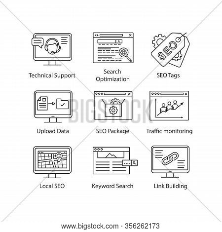 Seo Linear Icons Set. Technical Support, Search Optimization, Seo Tags And Package, Upload Data, Tra