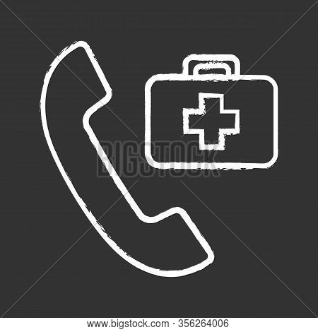 Doctor Appointment Chalk Icon. Call Ambulance. Emergency Call. Handset With First Aid Kit. Isolated