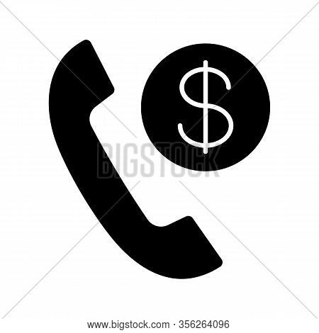 Call Charges Glyph Icon. Silhouette Symbol. Pay Per Call. Phone Tariff Plan. Handset With Dollar Coi