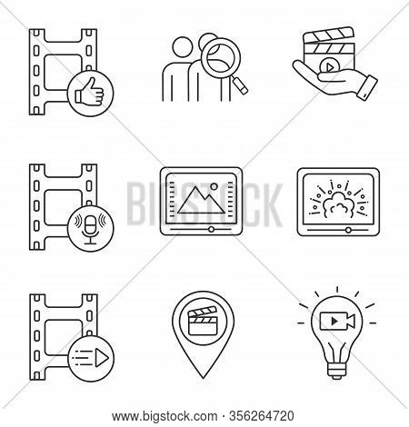 Film Industry Linear Icons Set. Post Production, Audience, Movie Release, Sound Record, Color Correc