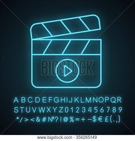 Filming Neon Light Icon. Film Industry. Clapperboard. Time Code Slate. Video Production. Cinematogra