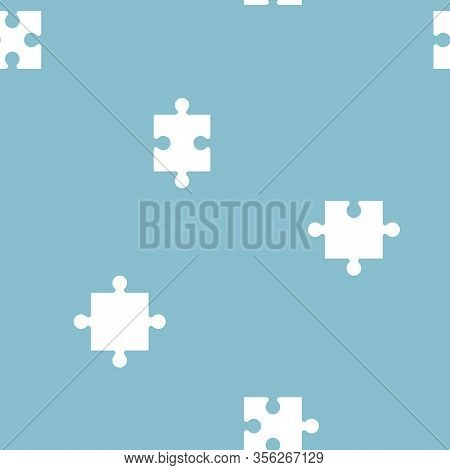 Seamless Jigsaw Puzzle Piece Repeat Pattern In Blue Background, Flat Vector Illustration Design