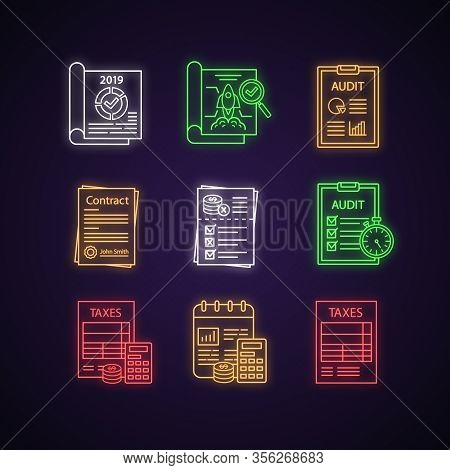 Audit Neon Light Icons Set. Taxes Form, Accounting, Budgeting, Auditor S Report, Operational Audit,