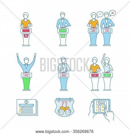 Quiz Show Color Icons Set. Intellectual Game Questions, Buzzer Systems, Players, Quiz Bowl, Online,