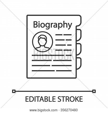 Personnel File Linear Icon. Personal Data. Hr Document. Thin Line Illustration. Staff Member Documen