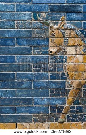 Fragment Of Aurochs Symbol Of Hadad Deity On Blue Ceramic Wall From Ancient Babylon