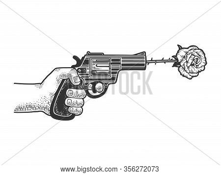 Gun Shot Rose Flower Arrow S Sketch Engraving Vector Illustration. T-shirt Apparel Print Design. Scr