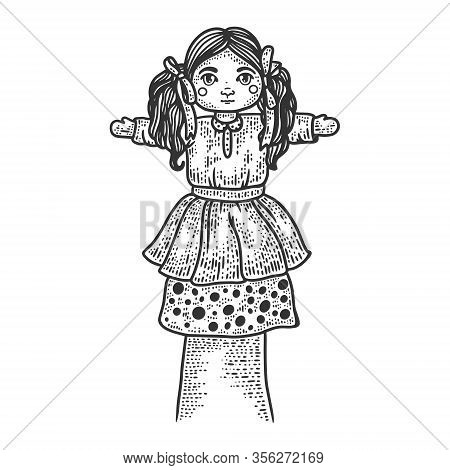Toy Puppet Doll On Hand Sketch Engraving Vector Illustration. T-shirt Apparel Print Design. Scratch