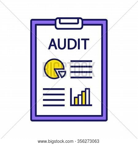 Audit Color Icon. Auditor S Report. Accounting And Bookkeeping. Assurance Service. Annual Report And