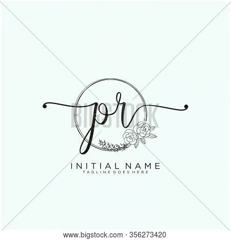 Pr Letter Initial Beauty Monogram And Elegant Logo Design, Handwriting Logo Of Initial Signature, We