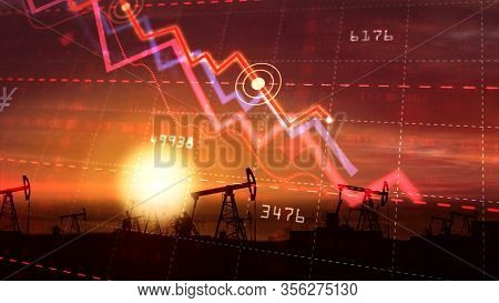 Oil And Fuel Business In Crisis Concept. Chart Of Fall In Oil Prices In Global Markets With Working