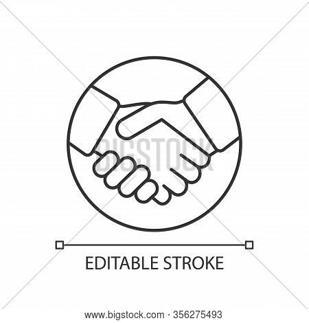 Commitment Linear Icon. Trust. Thin Line Illustration. Business Deal. Agreement, Contract. Handshake