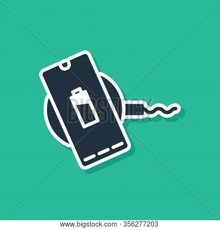 Blue Smartphone Charging On Wireless Charger Icon Isolated On Green Background. Charging Battery On