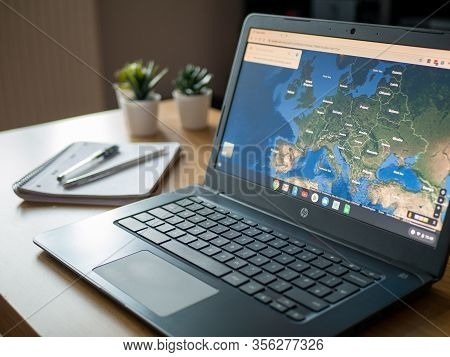 March 2020 Uk: European Satellite View On Google Maps App Chromebook Chrome Os Laptop