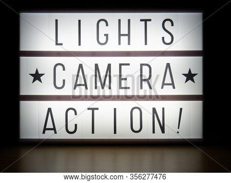 Led Light Box Lights Camera Action Message Board In Dark