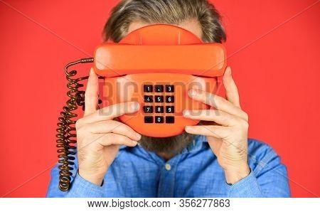 Hidden Subscriber. Phone Business Concept. Businessman Touts Retro Phone. Retro Customer Service. Co