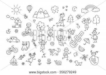 Happy Children In Summer Park. Funny Small Kids Play, Run And Jump. Set Of Elements In Childish Dood