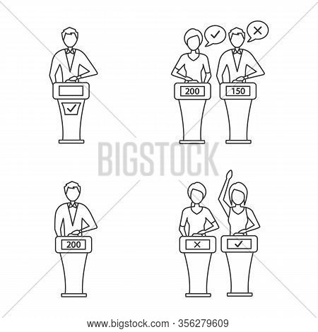 Quiz Show Linear Icons Set. Intellectual Game Winner, Loser, Buzzer Systems, Players. Thin Line Cont