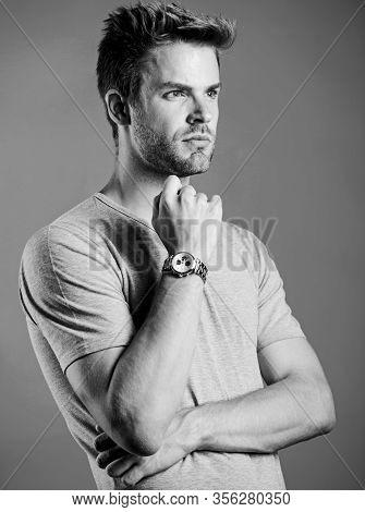 Keep Punctual. Man Well Groomed Handsome Hipster Wrist Watch. Expensive Accessory. Confident Macho L