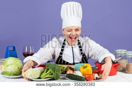 Commit To Be Fit. Chef Cook In Commercial Kitchen. Professional Chef With Healthy Products. Happy Sm