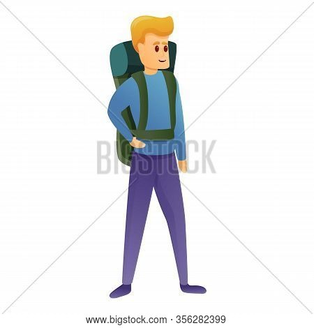 Climber Backpack Boy Icon. Cartoon Of Climber Backpack Boy Vector Icon For Web Design Isolated On Wh