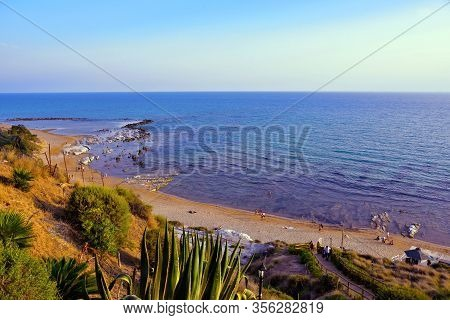 Stair Of The Turks (scala Dei Turchi) Mediterranean Beach Agrigento Italy September 18 2019 Agrigent