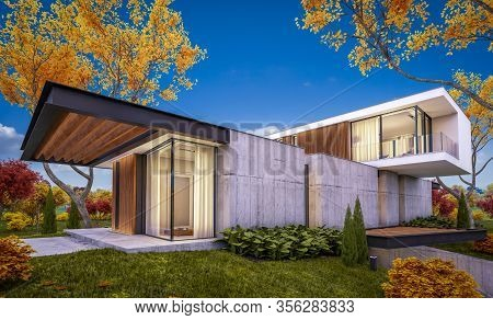3D Rendering Of Modern House On The Hill With Pool In Autumn Evening