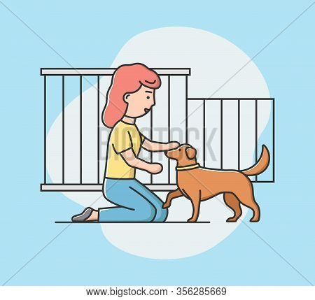 Concept Of Animal Shelter For Stray Pets. Kind Woman Help Homeless Animals. Girl Adopting Dog From S