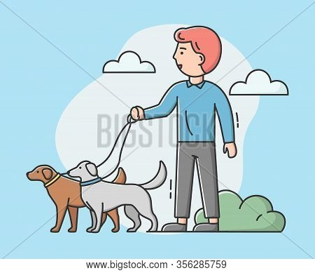 Walking Dogs Concept. Male Character Dog Walker Is Walking With Dogs In The Park. Four Legged Friend