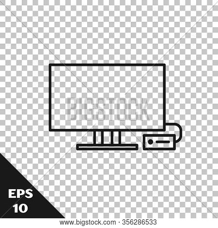 Black Line Smart Tv Icon Isolated On Transparent Background. Television Sign. Vector Illustration
