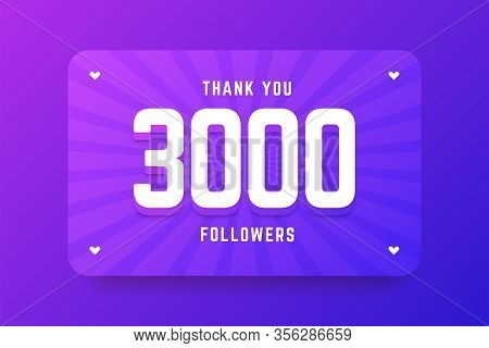3000 Followers Illustration In Gradient Violet Style. Vector Illustration For Celebrating Number Of