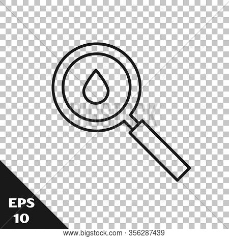 Black Line Oil Drop Icon Isolated On Transparent Background. Geological Exploration, Geology Researc