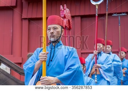 Okinawa, Japan - January 02, 2015: Dressed-up People Performing A Show At The Traditional New Year C