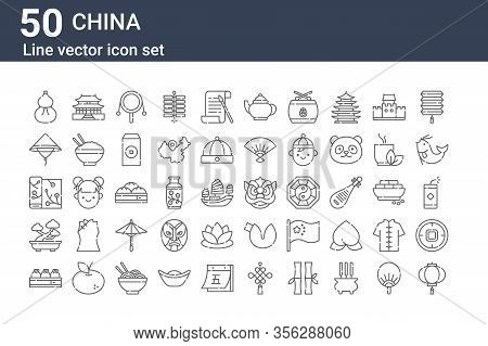 Set Of 50 China Icons. Outline Thin Line Icons Such As Lantern, Dumpling, Bonsai, Silk, Bamboo Hat,