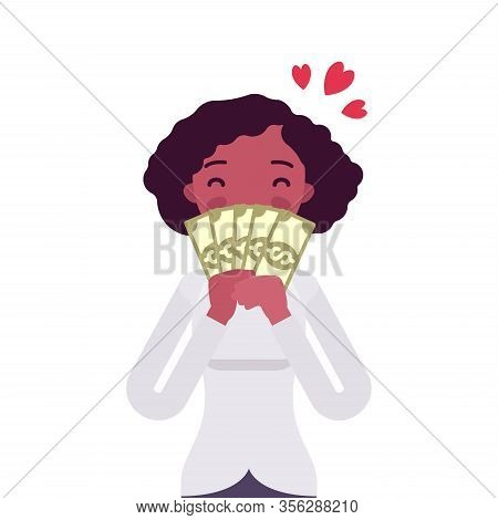 Big Money Love, Woman Adoring Dollar Banknotes. Happy Prosperous Person Enjoying Good Financial Life