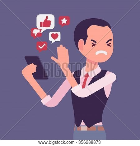 Mobile Junk Files From Smartphone Annoying Man. Smart User Removing Space Wasting Trash Information