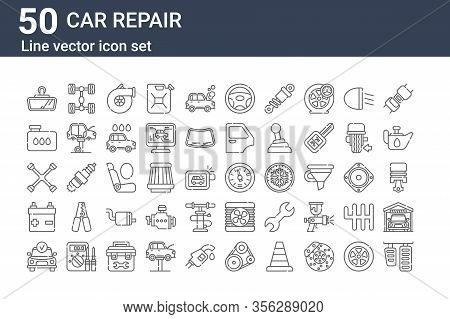 Set Of 50 Car Repair Icons. Outline Thin Line Icons Such As Brake Pedal, Diagnostic, Battery, Cross