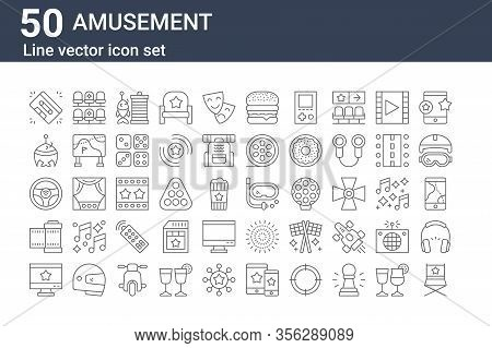 Set Of 50 Amusement Icons. Outline Thin Line Icons Such As Director Chair, Monitor, Camera Film, Ste