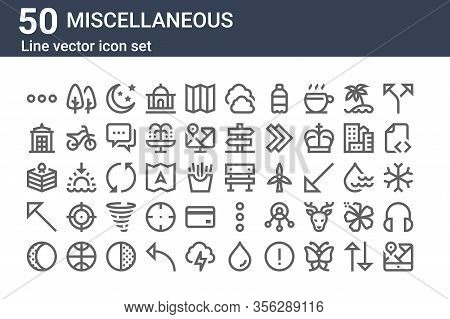 Set Of 50 Miscellaneous Icons. Outline Thin Line Icons Such As Map, Moon Phase, Diagonal Arrow, Cake