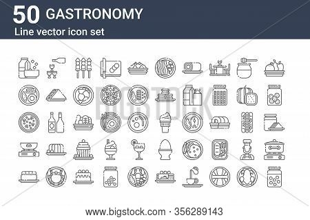Set Of 50 Gastronomy Icons. Outline Thin Line Icons Such As Peas, Nigiri, Frying, Soup, Breakfast, C
