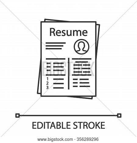 Resume Linear Icon. Thin Line Illustration. Cv. Curriculum Vitae. Personal Information. Contour Symb