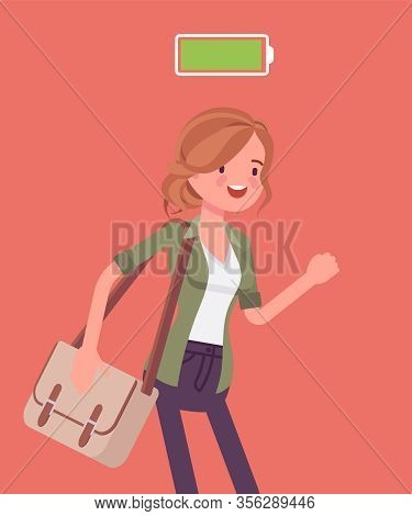 Fully Charged Active Woman, Power Battery Icon. Energetic Young Actively Working Girl In Movement En